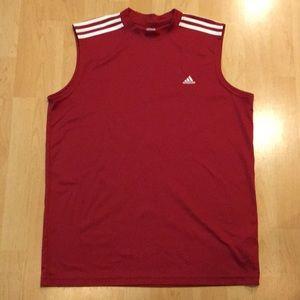 ADIDAS red muscle shirt, Size Large, EUC